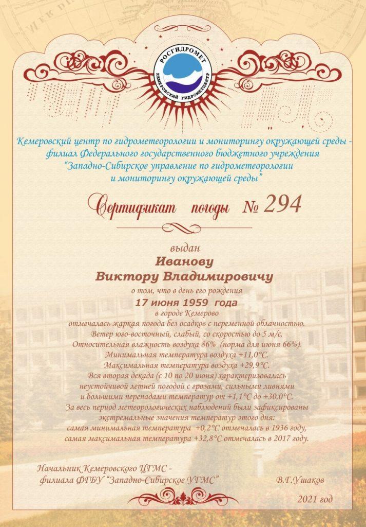 Сертификат погоды